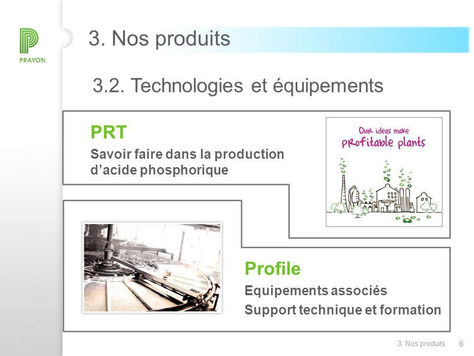 6 3. Nos produits 3.2. Technologies et équipements PRT Savoir faire dans la production dacide phosphorique Profile Equipements associés Support techni