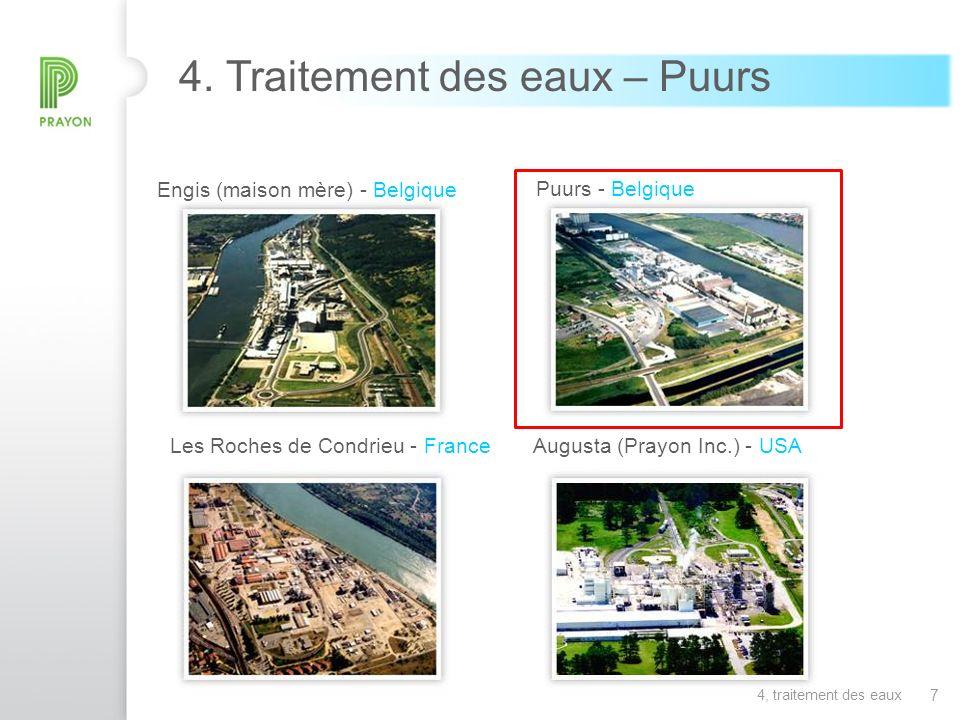 7 Engis (maison mère) - Belgique Puurs - Belgique Les Roches de Condrieu - FranceAugusta (Prayon Inc.) - USA 4. Traitement des eaux – Puurs 4, traitem