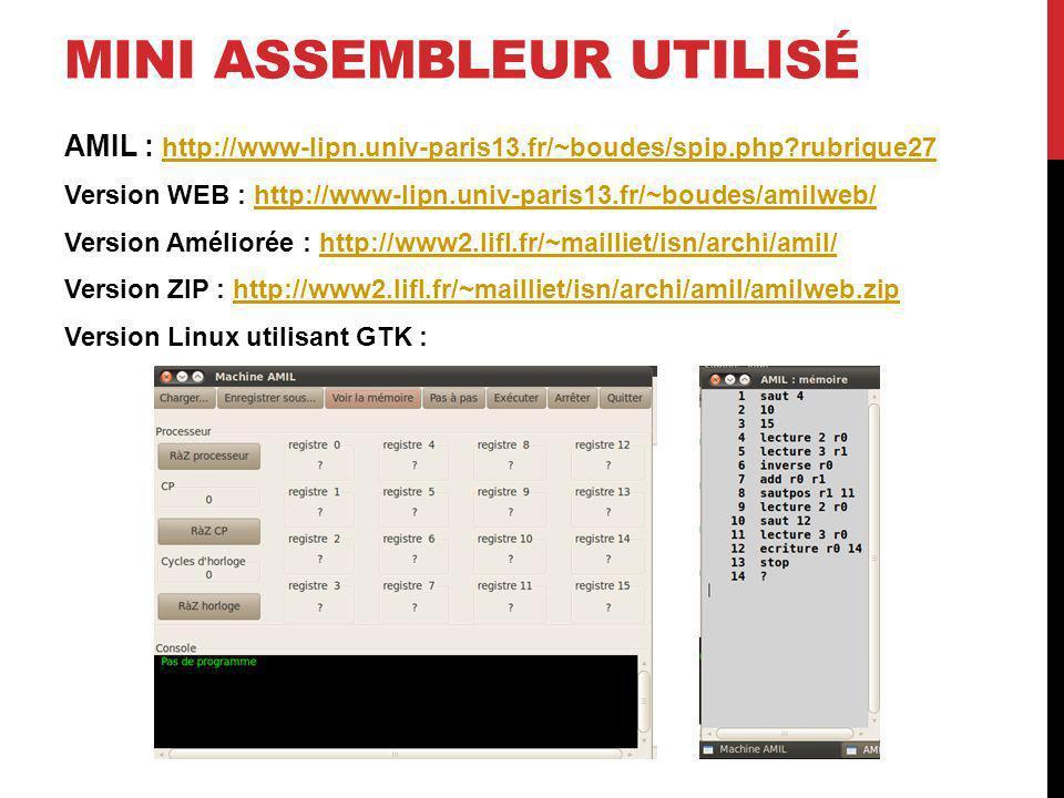 MINI ASSEMBLEUR UTILISÉ AMIL : http://www-lipn.univ-paris13.fr/~boudes/spip.php?rubrique27 http://www-lipn.univ-paris13.fr/~boudes/spip.php?rubrique27