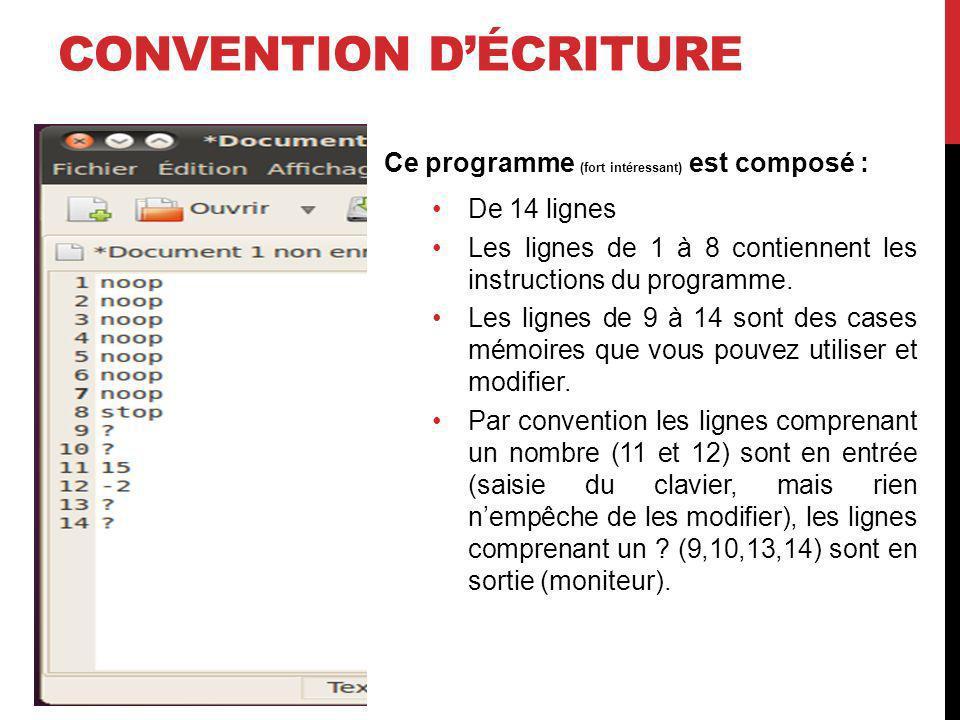 CONVENTION DÉCRITURE Ce programme (fort intéressant) est composé : De 14 lignes Les lignes de 1 à 8 contiennent les instructions du programme. Les lig