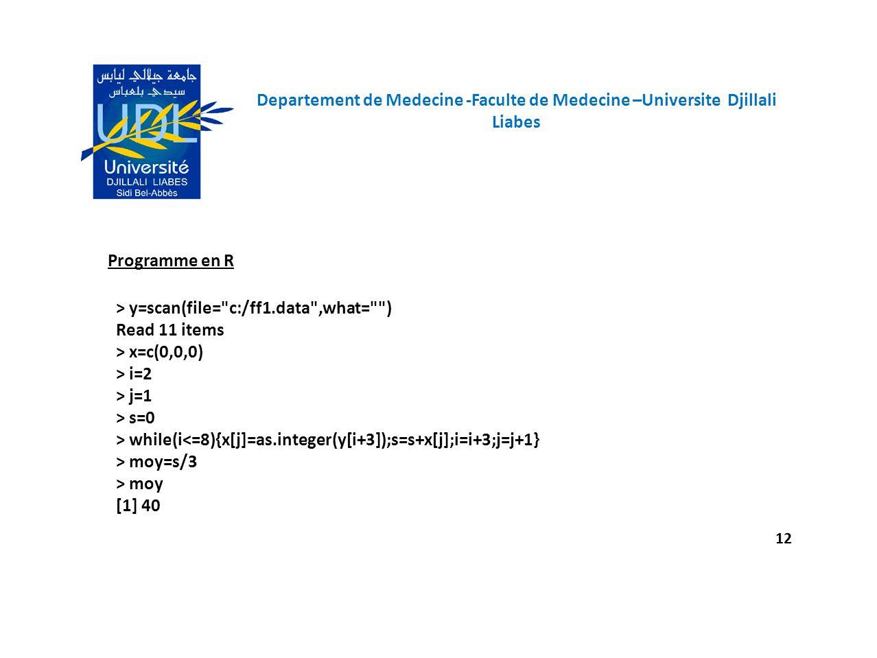 Departement de Medecine -Faculte de Medecine –Universite Djillali Liabes 12 Programme en R > y=scan(file=