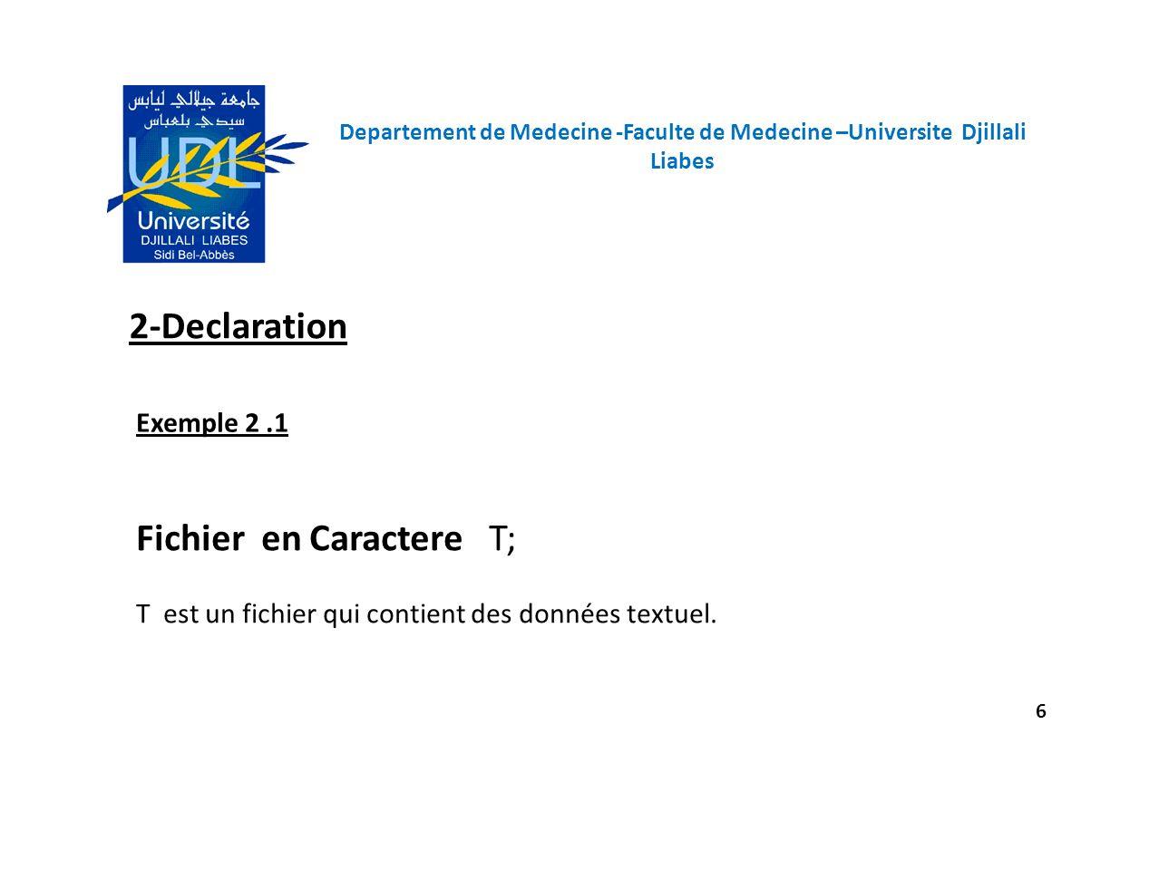 Departement de Medecine -Faculte de Medecine –Universite Djillali Liabes 6 2-Declaration Fichier en Caractere T; T est un fichier qui contient des don