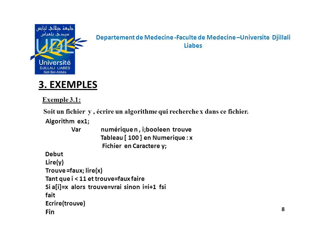 Departement de Medecine -Faculte de Medecine –Universite Djillali Liabes 8 3. EXEMPLES Exemple 3.1: Soit un fichier y, écrire un algorithme qui recher