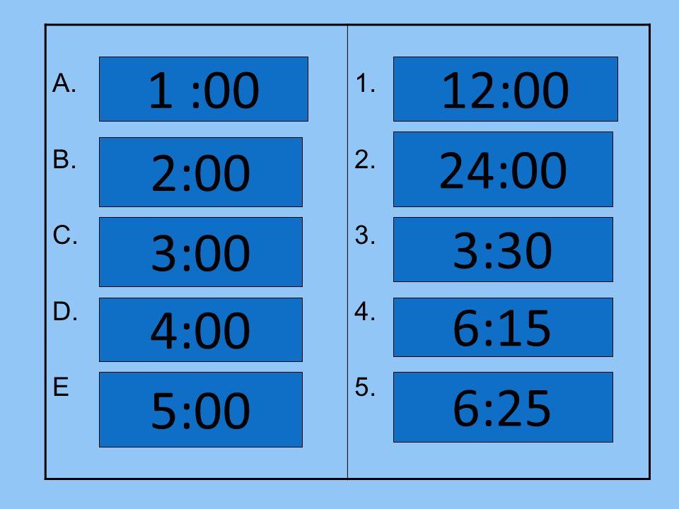 A. B. C. D. E 1. 2. 3. 4. 5. 1 :00 2:00 3:00 4:00 5:00 12:00 24:00 3:30 6:15 6:25