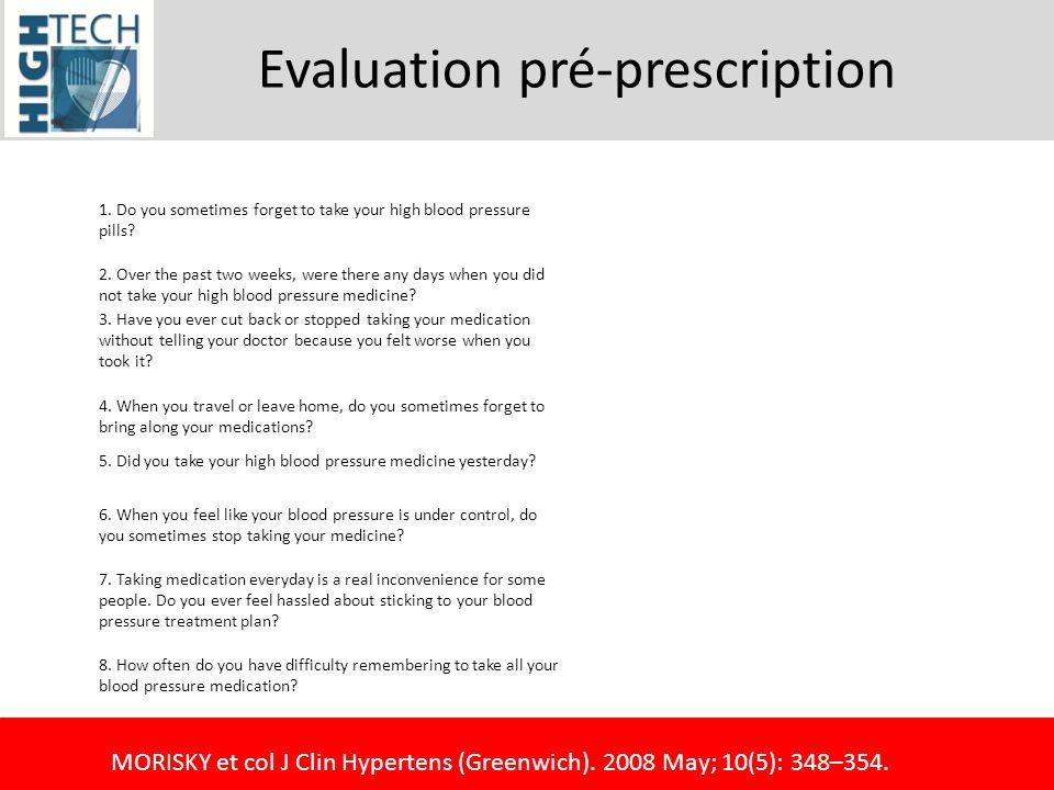 Evaluation pré-prescription 1.Do you sometimes forget to take your high blood pressure pills.