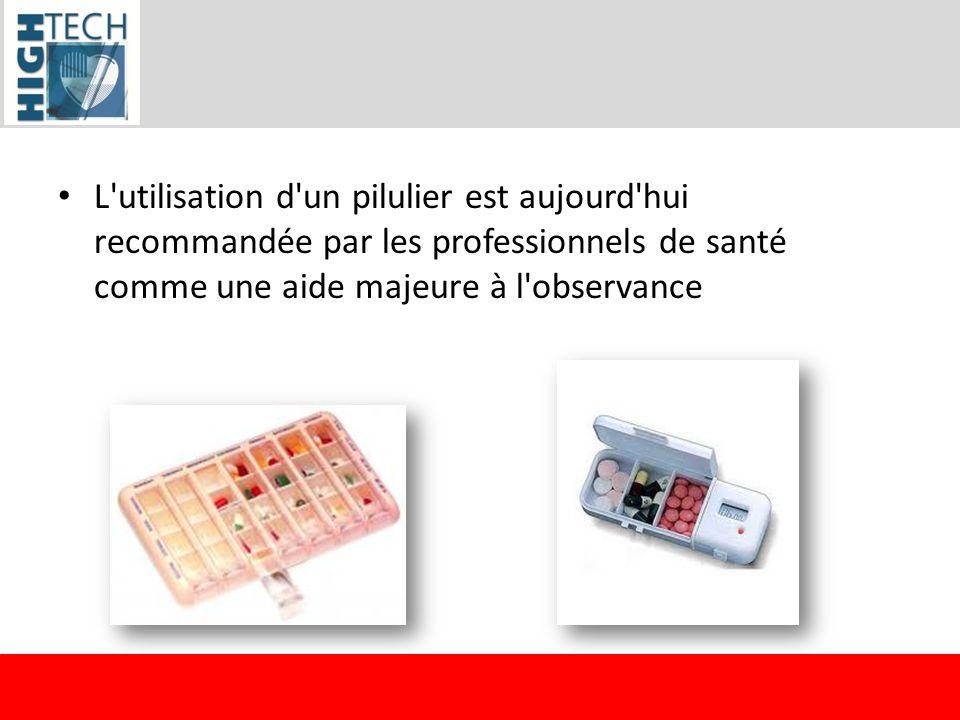 L'utilisation d'un pilulier est aujourd'hui recommandée par les professionnels de santé comme une aide majeure à l'observance