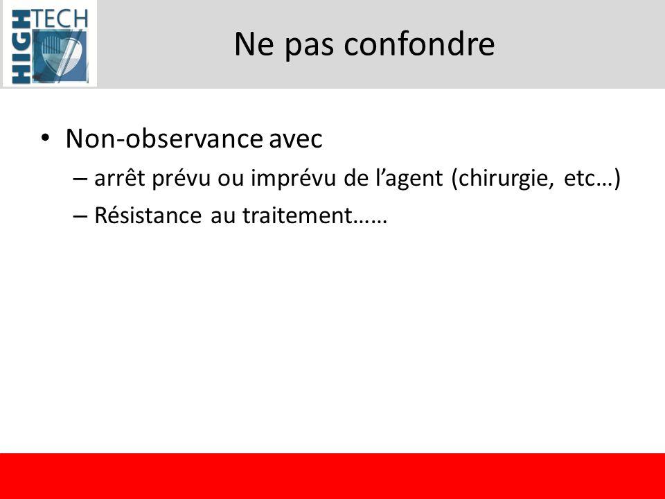 Ne pas confondre Non-observance avec – arrêt prévu ou imprévu de lagent (chirurgie, etc…) – Résistance au traitement……