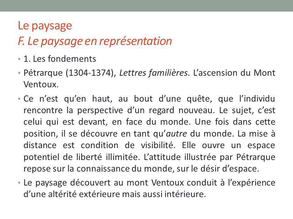 Le paysage F. Le paysage en représentation 1. Les fondements Pétrarque (1304-1374), Lettres familières. Lascension du Mont Ventoux. Ce nest quen haut,