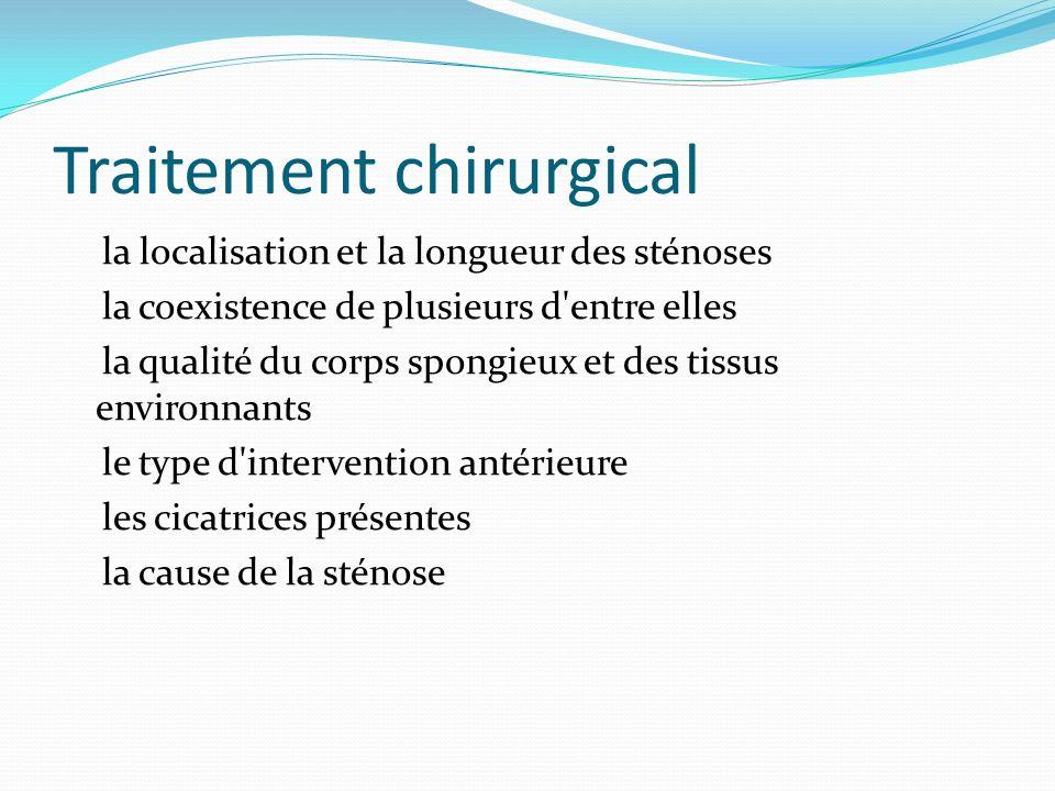 Traitement chirurgical la localisation et la longueur des sténoses la coexistence de plusieurs d'entre elles la qualité du corps spongieux et des tiss