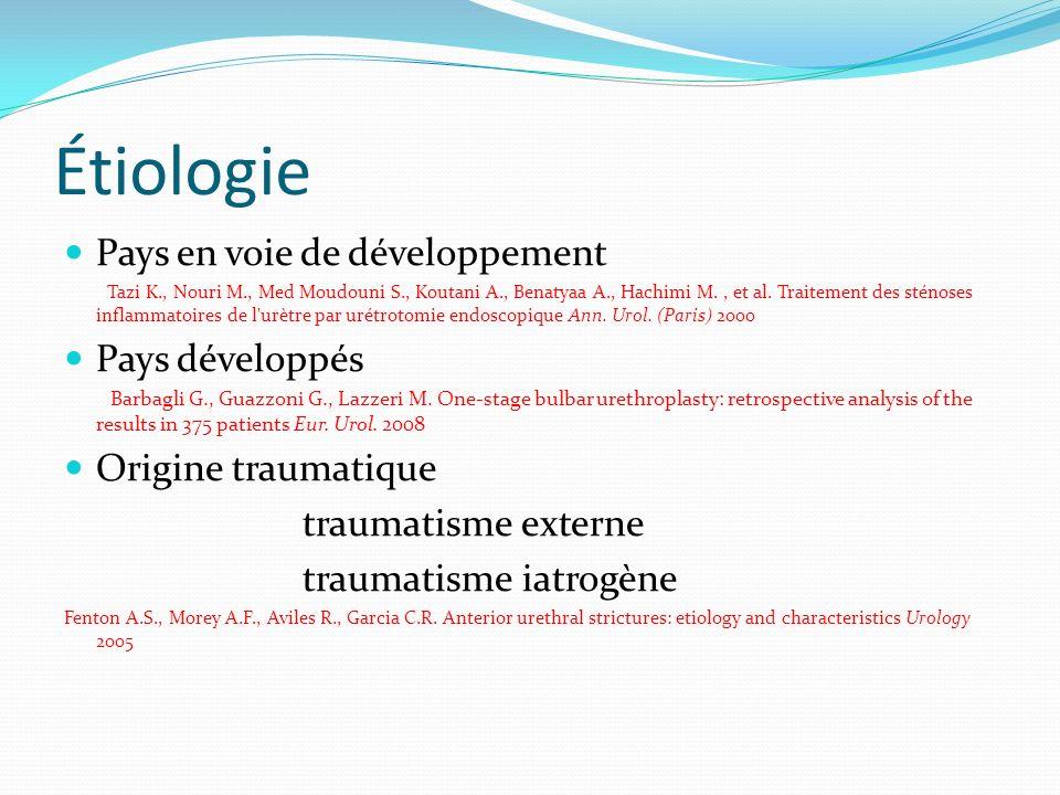Étiologie Pays en voie de développement Tazi K., Nouri M., Med Moudouni S., Koutani A., Benatyaa A., Hachimi M., et al. Traitement des sténoses inflam
