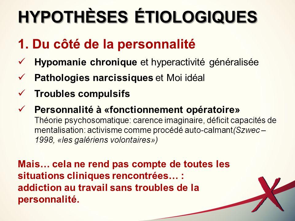 HYPOTHÈSES ÉTIOLOGIQUES 1. Du côté de la personnalité Hypomanie chronique et hyperactivité généralisée Pathologies narcissiques et Moi idéal Troubles