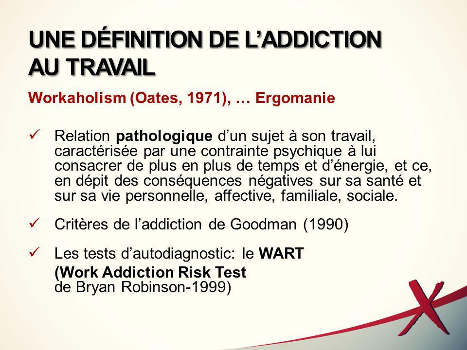 UNE DÉFINITION DE LADDICTION AU TRAVAIL Workaholism (Oates, 1971), … Ergomanie Relation pathologique dun sujet à son travail, caractérisée par une con