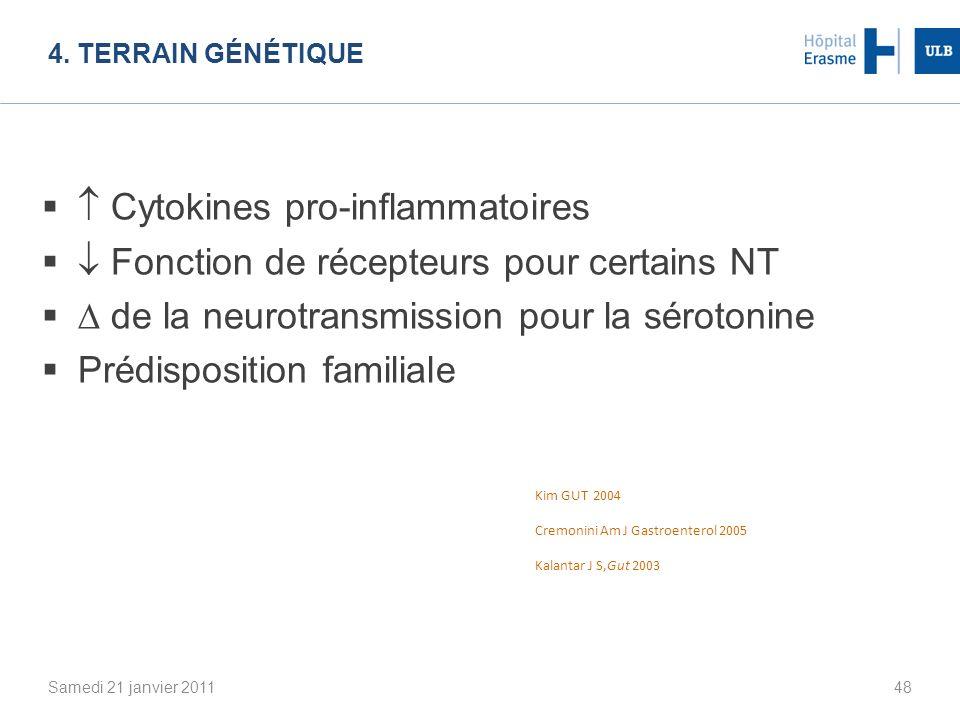 4. TERRAIN GÉNÉTIQUE Samedi 21 janvier 201148 Cytokines pro-inflammatoires Fonction de récepteurs pour certains NT de la neurotransmission pour la sér