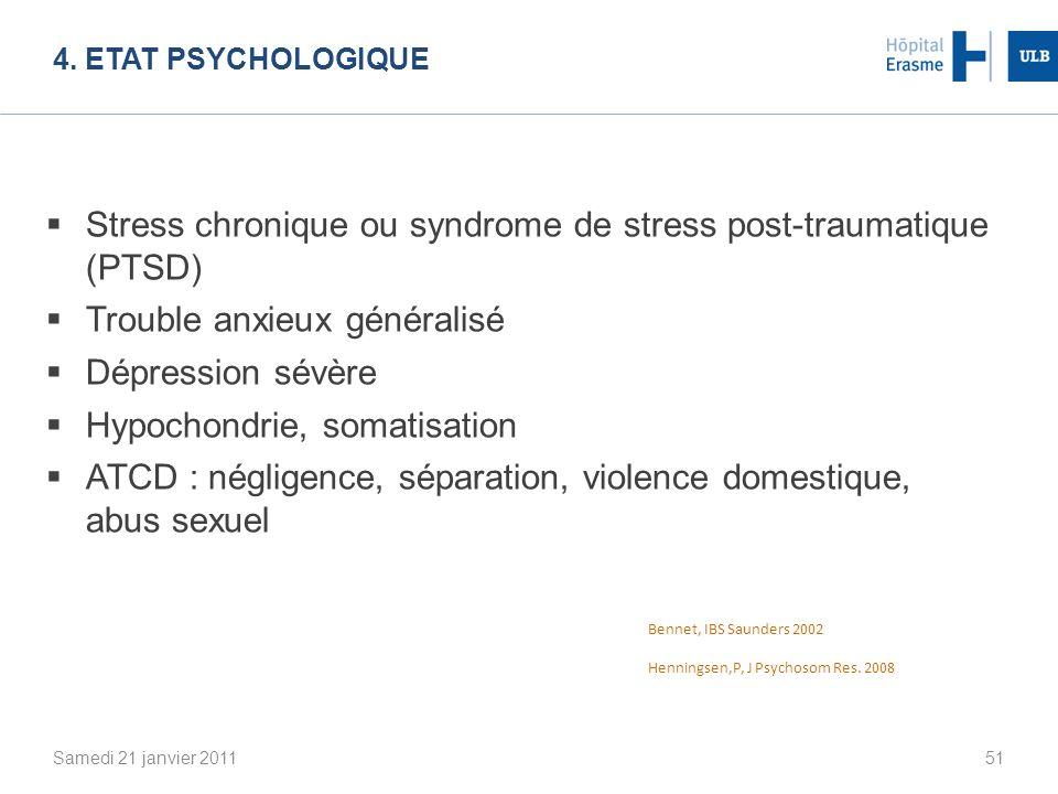 4. ETAT PSYCHOLOGIQUE Samedi 21 janvier 201151 Stress chronique ou syndrome de stress post-traumatique (PTSD) Trouble anxieux généralisé Dépression sé