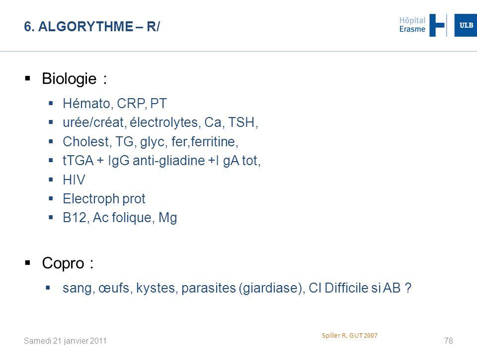 6. ALGORYTHME – R/ Samedi 21 janvier 201178 Spiller R, GUT 2007 Biologie : Hémato, CRP, PT urée/créat, électrolytes, Ca, TSH, Cholest, TG, glyc, fer,f