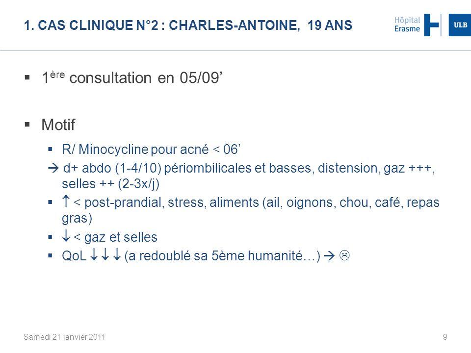 1. CAS CLINIQUE N°2 : CHARLES-ANTOINE, 19 ANS 1 ère consultation en 05/09 Motif R/ Minocycline pour acné < 06 d+ abdo (1-4/10) périombilicales et bass