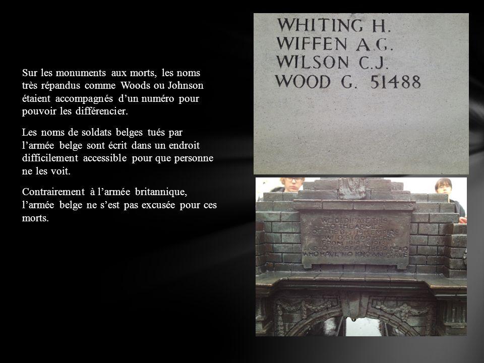 Sur les monuments aux morts, les noms très répandus comme Woods ou Johnson étaient accompagnés dun numéro pour pouvoir les différencier. Les noms de s