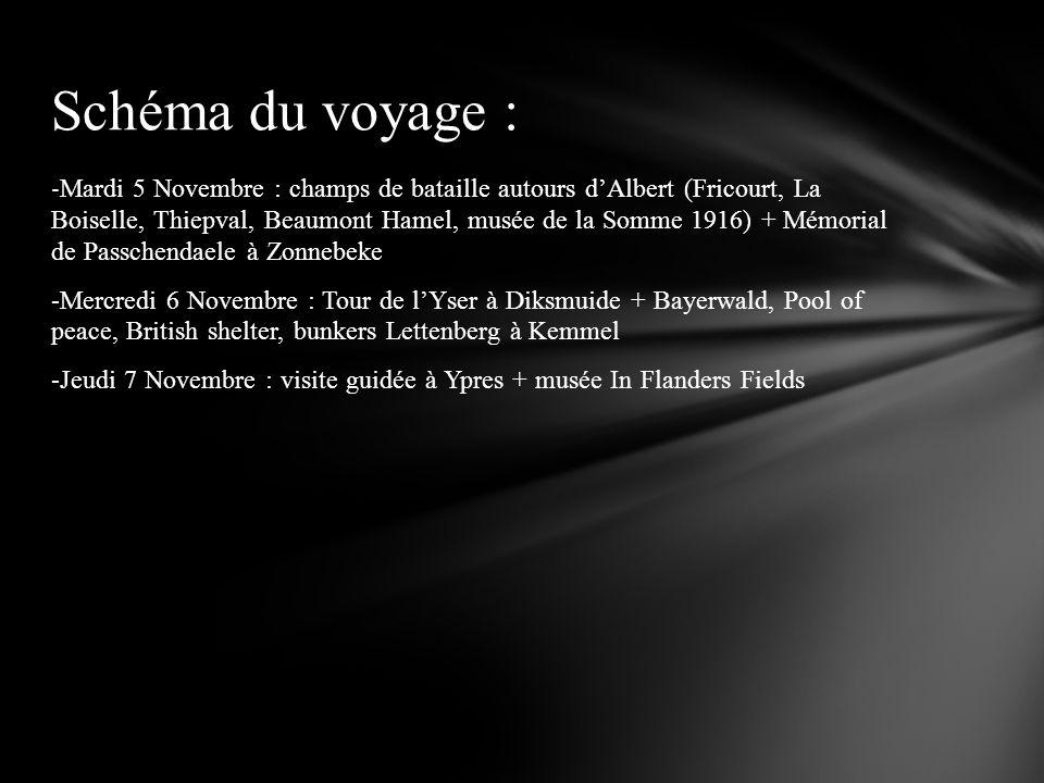 - Mardi 5 Novembre : champs de bataille autours dAlbert (Fricourt, La Boiselle, Thiepval, Beaumont Hamel, musée de la Somme 1916) + Mémorial de Passch