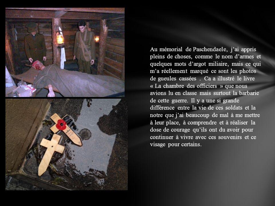 Au mémorial de Paschendaele, jai appris pleins de choses, comme le nom darmes et quelques mots dargot miliaire, mais ce qui ma réellement marqué ce so