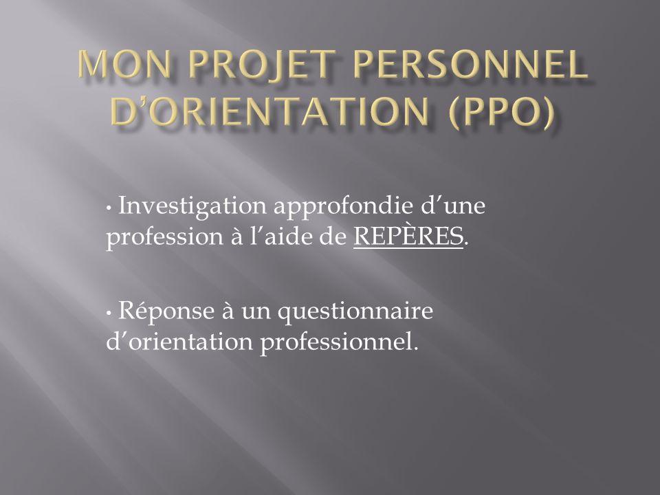 Investigation approfondie dune profession à laide de REPÈRES. Réponse à un questionnaire dorientation professionnel.