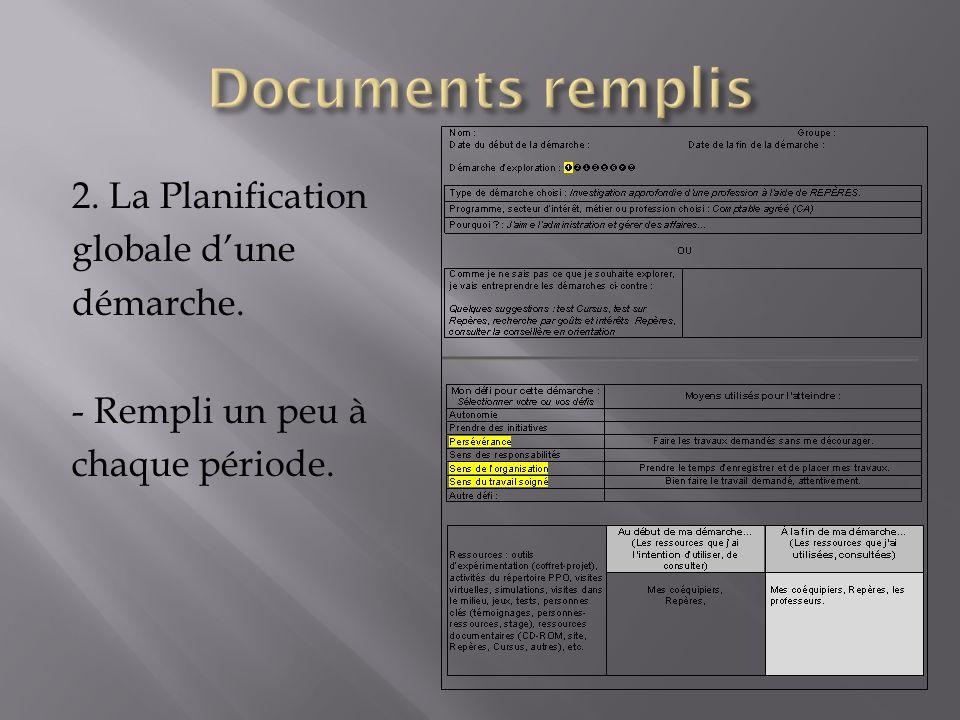2. La Planification globale dune démarche. - Rempli un peu à chaque période.