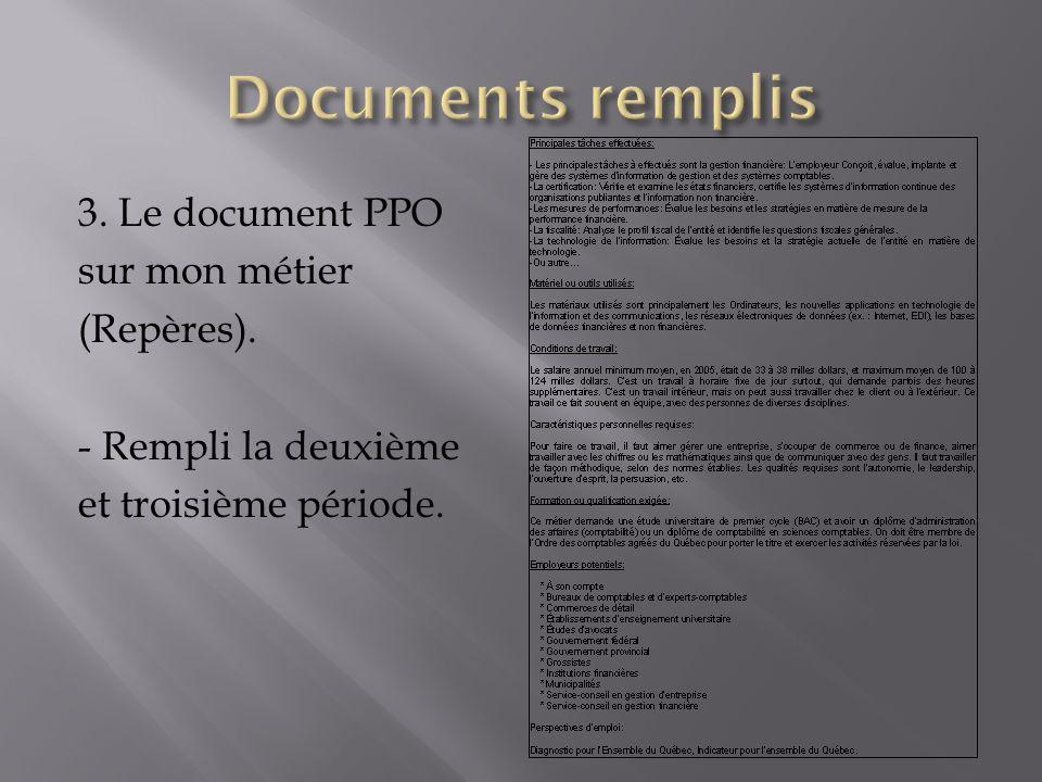 3. Le document PPO sur mon métier (Repères). - Rempli la deuxième et troisième période.