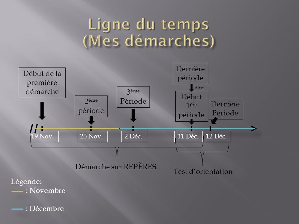 Début de la première démarche 19 Nov. 2 ème période 25 Nov. 3 ème Période 2 Déc. Dernière période 11 Déc. Démarche sur REPÈRES Début 1 ère période Der