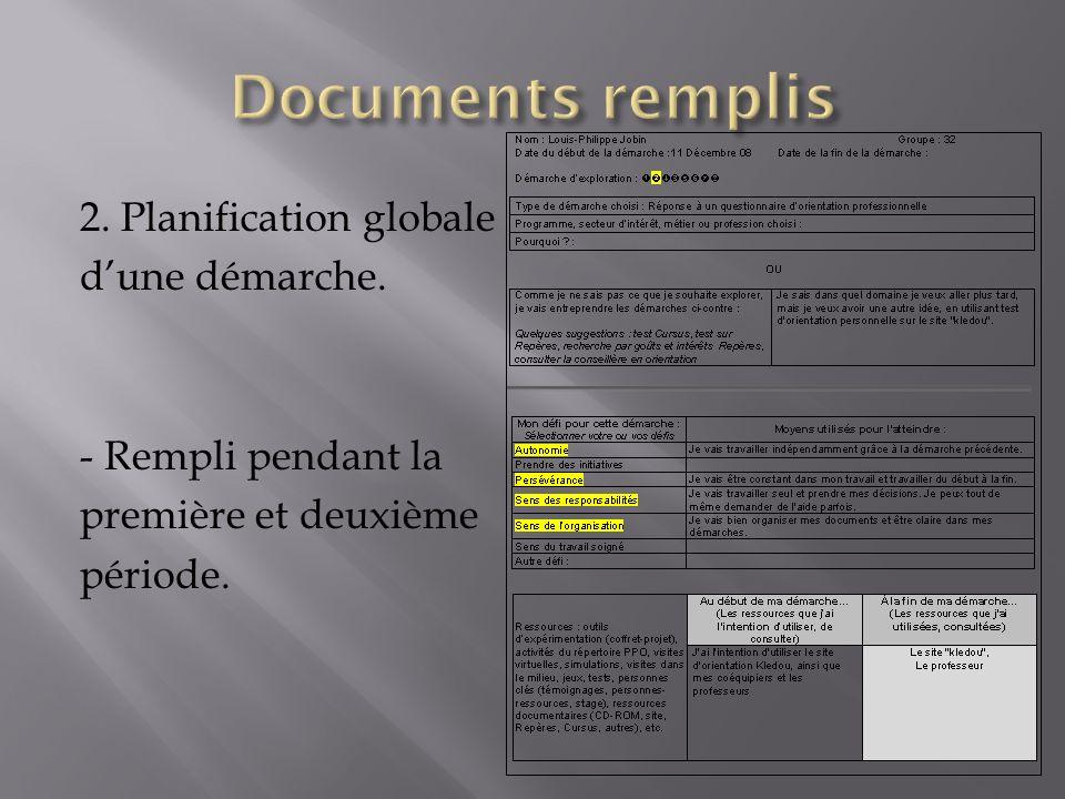 2. Planification globale dune démarche. - Rempli pendant la première et deuxième période.