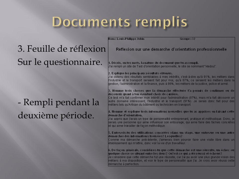 3. Feuille de réflexion Sur le questionnaire. - Rempli pendant la deuxième période.