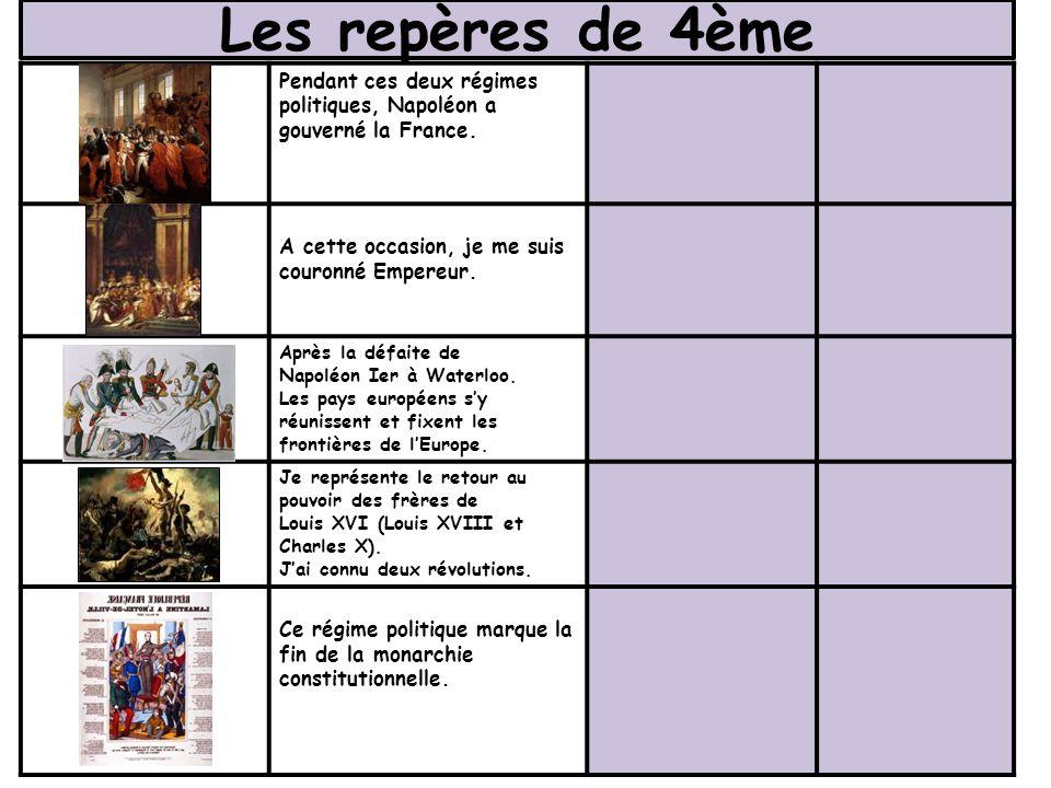 Les repères de 4ème Pendant ces deux régimes politiques, Napoléon a gouverné la France. A cette occasion, je me suis couronné Empereur. Après la défai