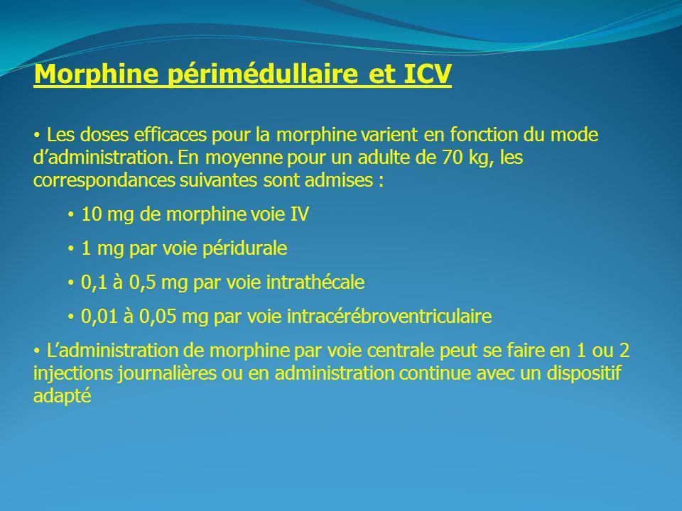 2 Morphine périmédullaire et ICV Les doses efficaces pour la morphine varient en fonction du mode dadministration. En moyenne pour un adulte de 70 kg,