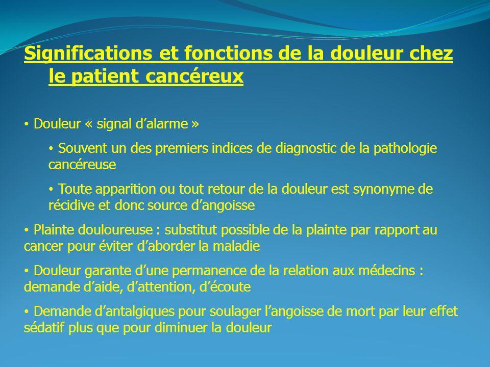 2 Significations et fonctions de la douleur chez le patient cancéreux Douleur « signal dalarme » Souvent un des premiers indices de diagnostic de la p