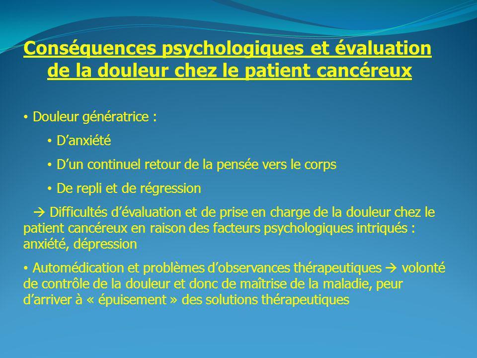 2 Conséquences psychologiques et évaluation de la douleur chez le patient cancéreux Douleur génératrice : Danxiété Dun continuel retour de la pensée v