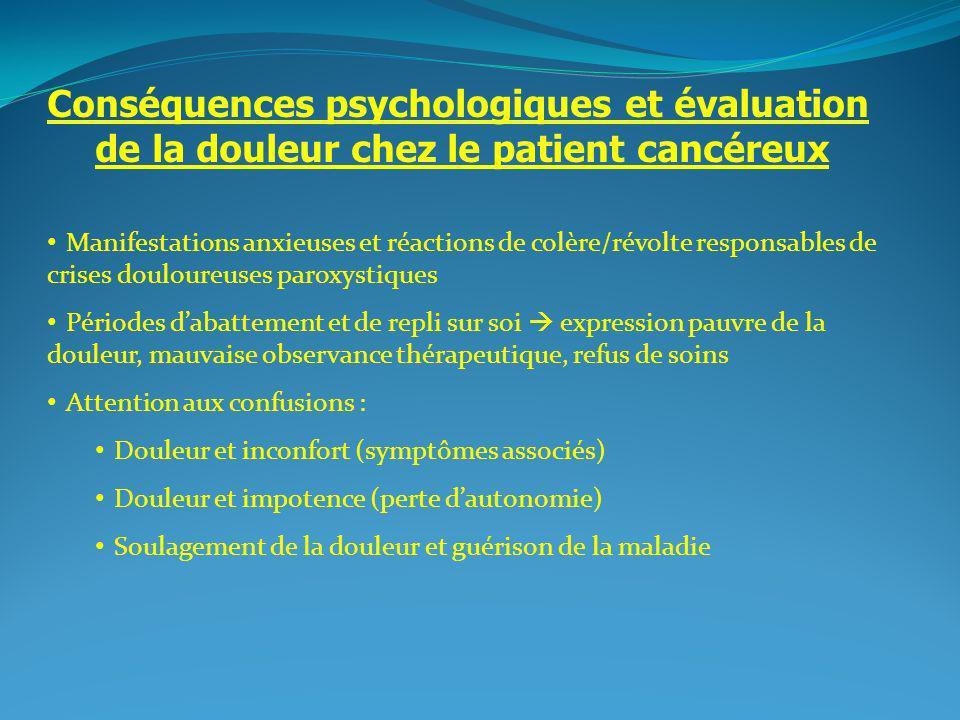 2 Conséquences psychologiques et évaluation de la douleur chez le patient cancéreux Manifestations anxieuses et réactions de colère/révolte responsabl