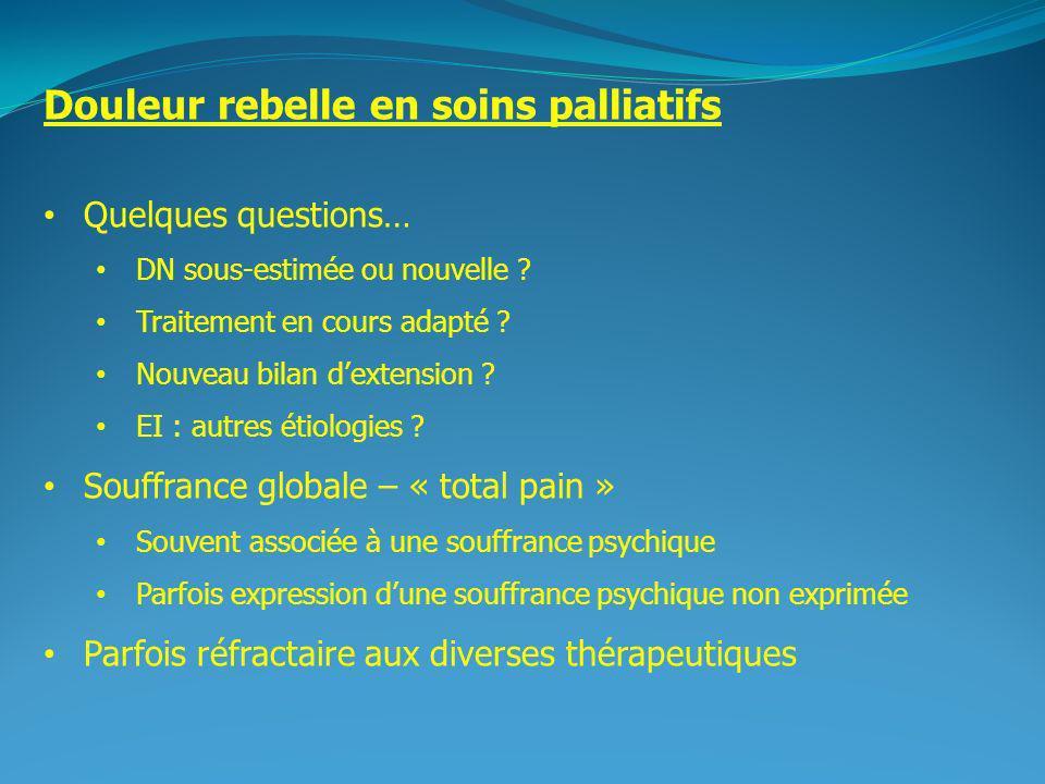 2 Douleur rebelle en soins palliatifs Quelques questions… DN sous-estimée ou nouvelle ? Traitement en cours adapté ? Nouveau bilan dextension ? EI : a