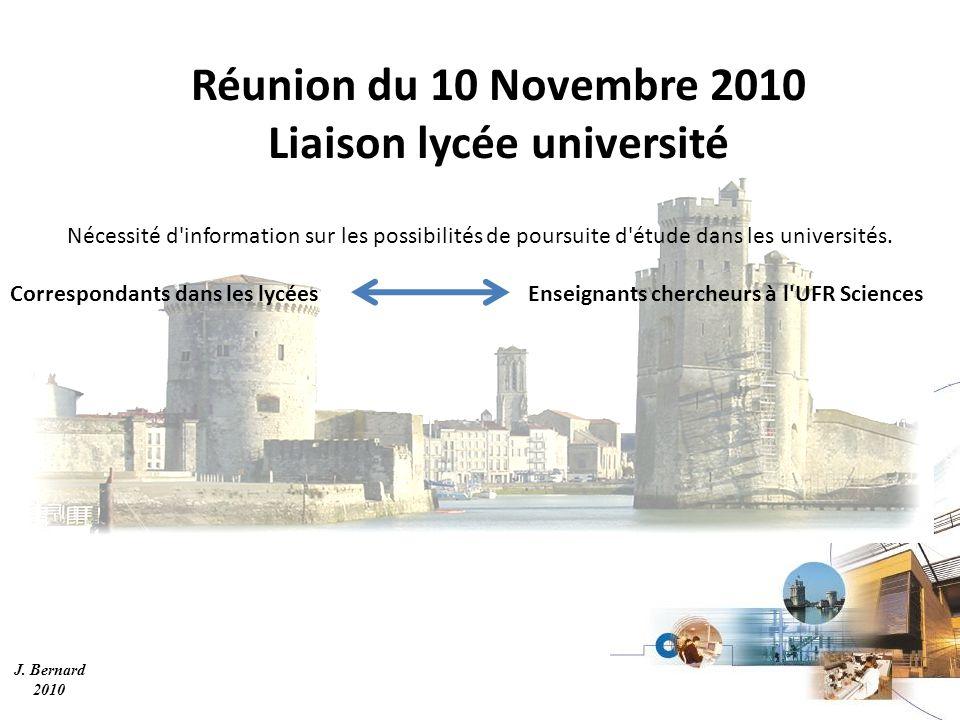 J. Bernard 2010 Réunion du 10 Novembre 2010 Liaison lycée université Nécessité d'information sur les possibilités de poursuite d'étude dans les univer