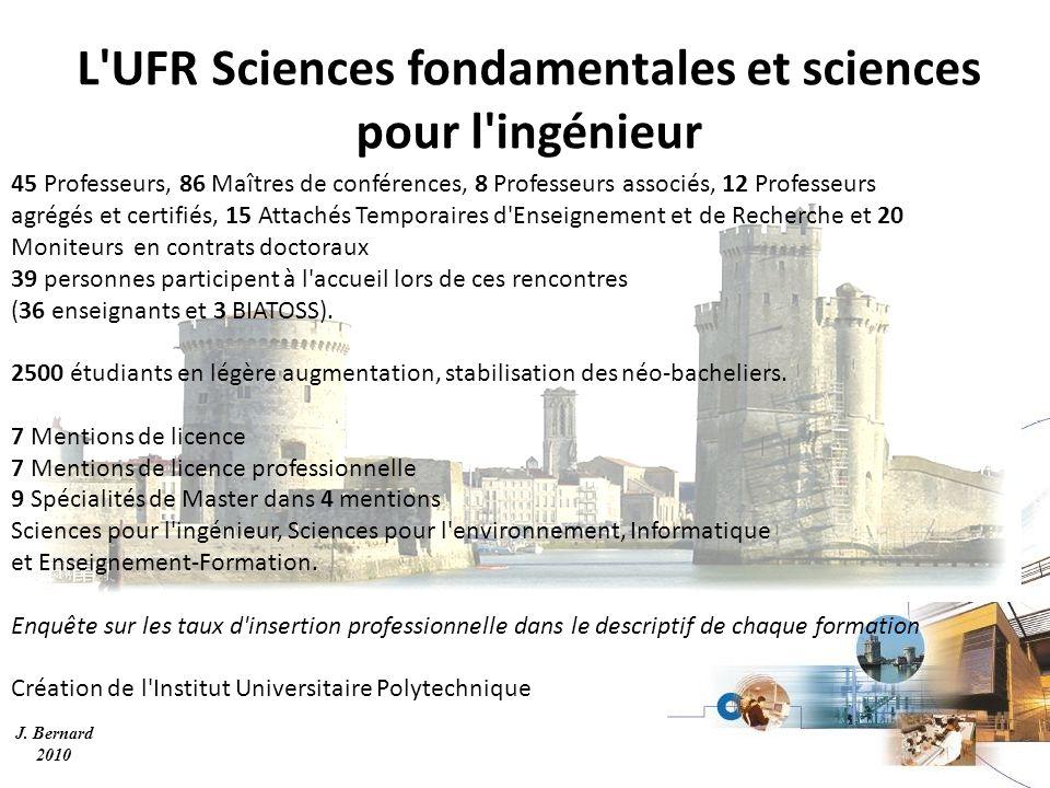 J. Bernard 2010 L'UFR Sciences fondamentales et sciences pour l'ingénieur 45 Professeurs, 86 Maîtres de conférences, 8 Professeurs associés, 12 Profes