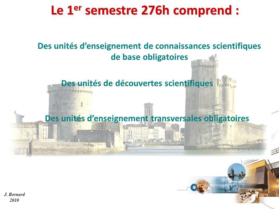 Le 1 er semestre 276h comprend : Des unités denseignement transversales obligatoires Des unités denseignement de connaissances scientifiques de base obligatoires Des unités de découvertes scientifiques J.
