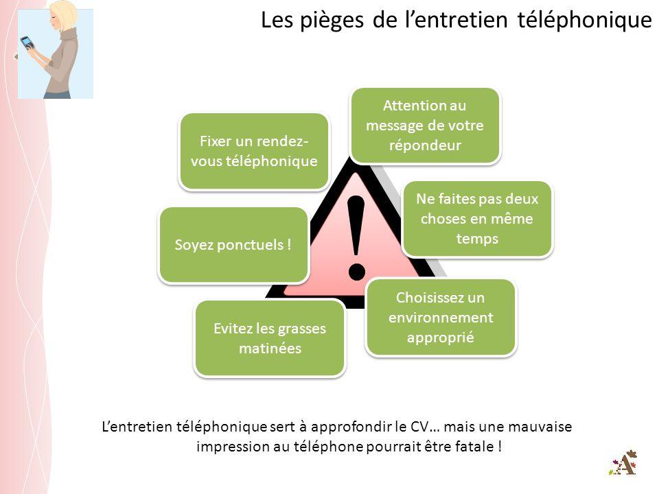 Les pièges de lentretien téléphonique Lentretien téléphonique sert à approfondir le CV… mais une mauvaise impression au téléphone pourrait être fatale