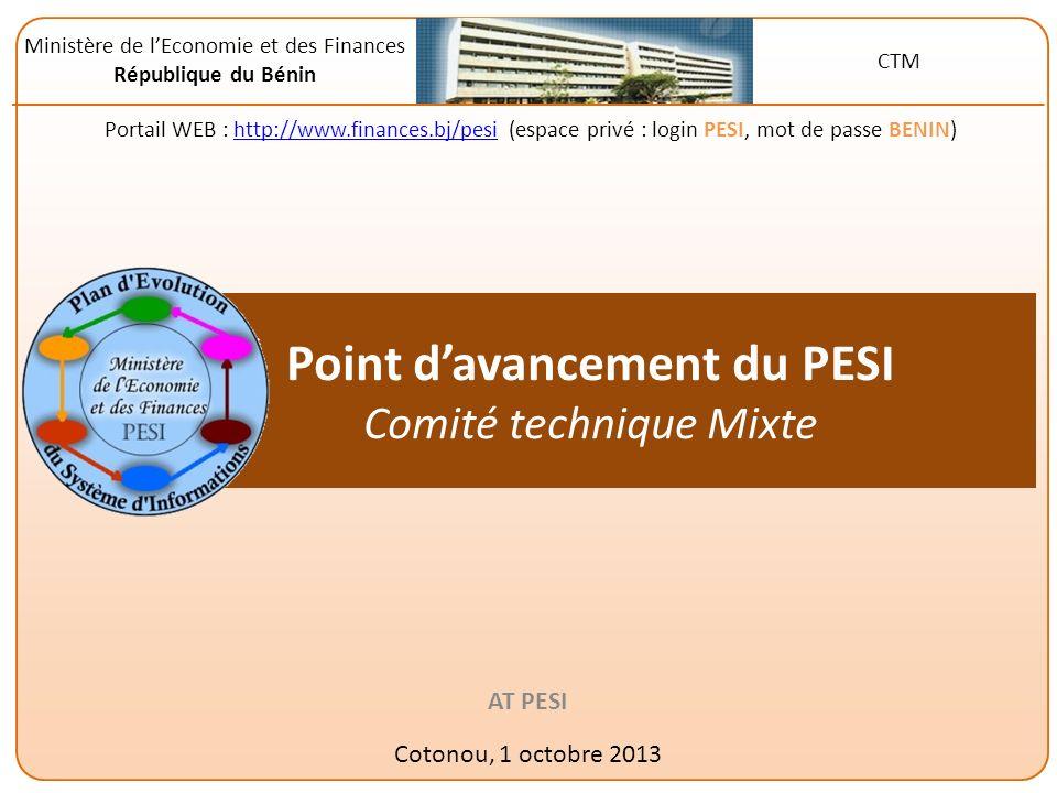 Mise en œuvre du Plan dEvolution du Système dInformation 2011 du MEF A lorigine, le PESI, cest … Une étude réalisée en 2011 pour : – Analyser létat du SI de GFP du MEF – Encadrer lévolution du SI et lui assigner un objectif global : « Produire à des coûts et dans des délais raisonnables des informations fiables sur la GFP » – Identifier le portefeuille de projets informatiques, à poursuivre ou à lancer, pour atteindre lobjectif Une formulation des 40 projets (à travers les « classeurs projets ») au premier trimestre 2012 Et un démarrage des activités par … Premières mobilisations dexperts et de financements troisième trimestre 2012 Une mise en place du pilotage du PESI quatrième trimestre 2012 Un alignement du financement (PTA 2013 de lUGR) sur les projets PESI en 2013