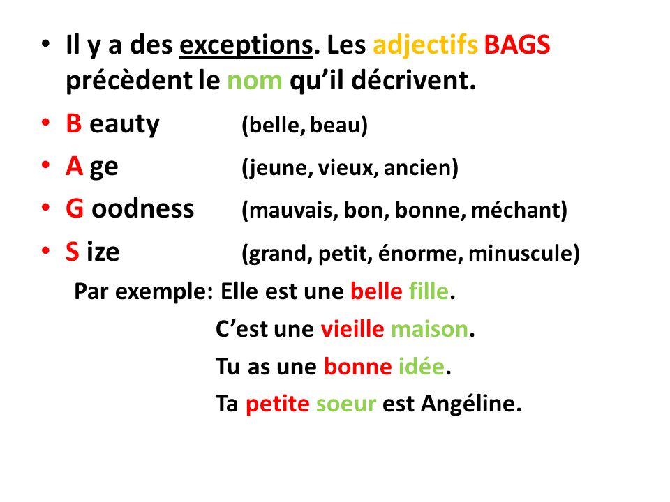 Il y a des exceptions. Les adjectifs BAGS précèdent le nom quil décrivent. B eauty (belle, beau) A ge (jeune, vieux, ancien) G oodness (mauvais, bon,