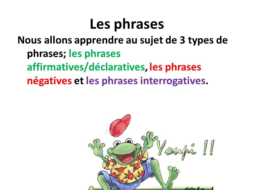 Les phrases Nous allons apprendre au sujet de 3 types de phrases; les phrases affirmatives/déclaratives, les phrases négatives et les phrases interrog
