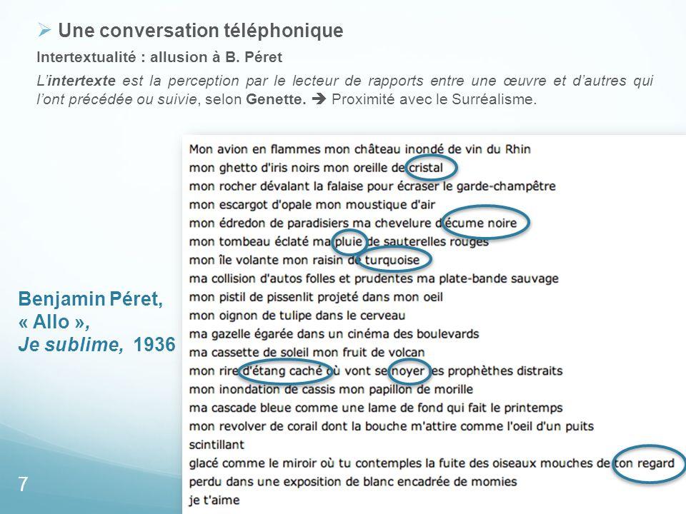 Benjamin Péret, « Allo », Je sublime, 1936 Une conversation téléphonique Intertextualité : allusion à B. Péret Lintertexte est la perception par le le