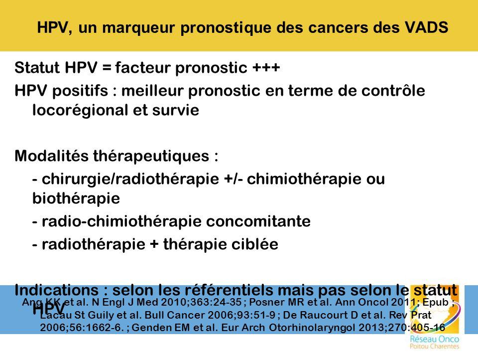 Statut HPV = facteur pronostic +++ HPV positifs : meilleur pronostic en terme de contrôle locorégional et survie Modalités thérapeutiques : - chirurgi