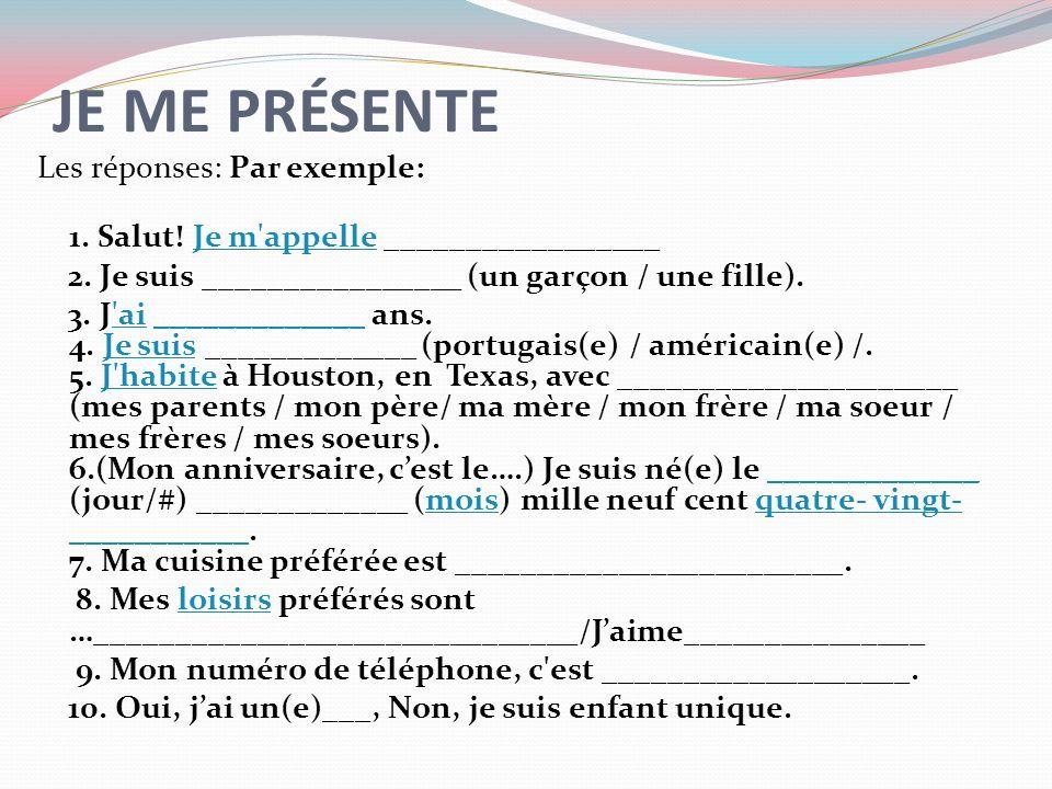 French 2 LES DEVOIRS: Pg.6 de votre livre: Lisez les questions et répondez.