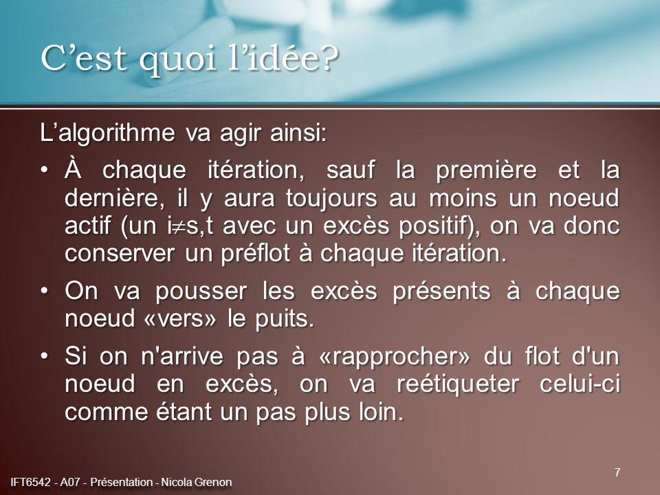8 Pseudotruc procedure poussée_de_préflot (entrée: G=(V,A); sortie: x) début {initialisation} pour tout i V, s,t d(i):=1 et e(i):=0{possible un peu mieux} d(s):=n d(t):=0 pour tout (s,j) V + (s) x sj :=u sj {ajuster e(j)} {corps} tant que e(i)>0 où i s,t{noeud actif} début choisir un noeud actif si il y a un arc admissible dans V + (i) début choisir un arc (i,j) admissible pousser =min{e(i),r ij } sur (i,j){ajuster x ij, e(i), e(j)} fin sinon d(i):=min{d(j)+1|(i,j) V + (i) et r ij >0}{r ij du graphe résiduel} fin IFT6542 - A07 - Présentation - Nicola Grenon