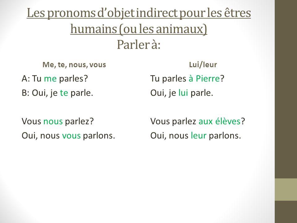 Les pronoms dobjet indirect pour les êtres humains (ou les animaux) Parler à: Me, te, nous, vous A: Tu me parles? B: Oui, je te parle. Vous nous parle
