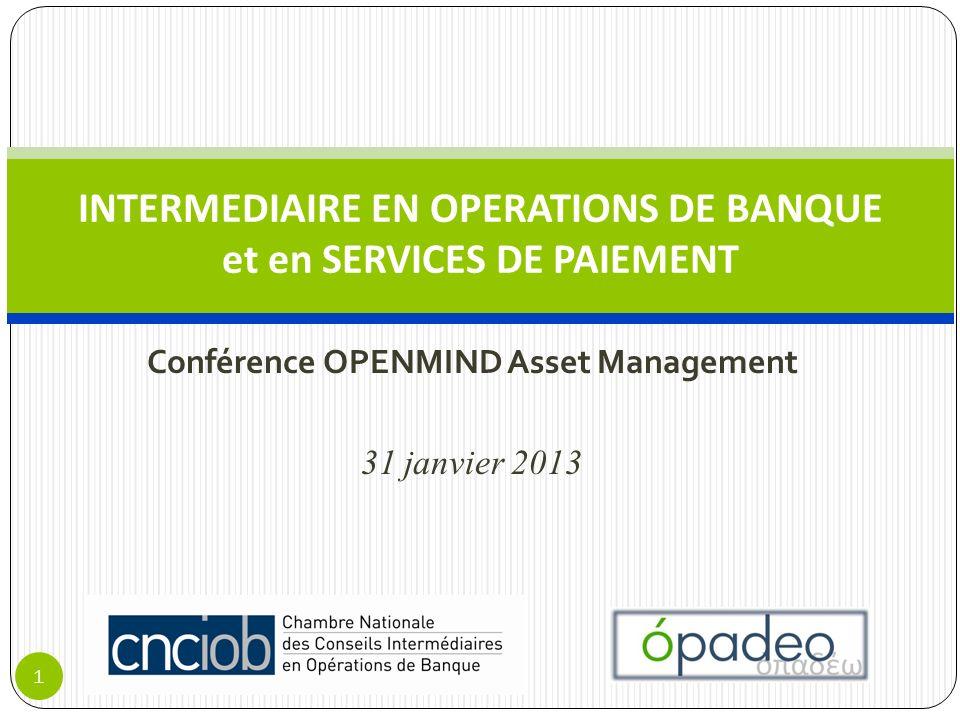 Conférence OPENMIND Asset Management 31 janvier 2013 INTERMEDIAIRE EN OPERATIONS DE BANQUE et en SERVICES DE PAIEMENT 1