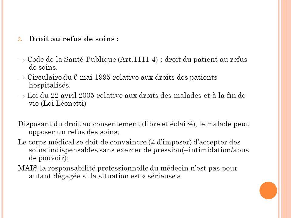3. Droit au refus de soins : Code de la Santé Publique (Art.1111-4) : droit du patient au refus de soins. Circulaire du 6 mai 1995 relative aux droits