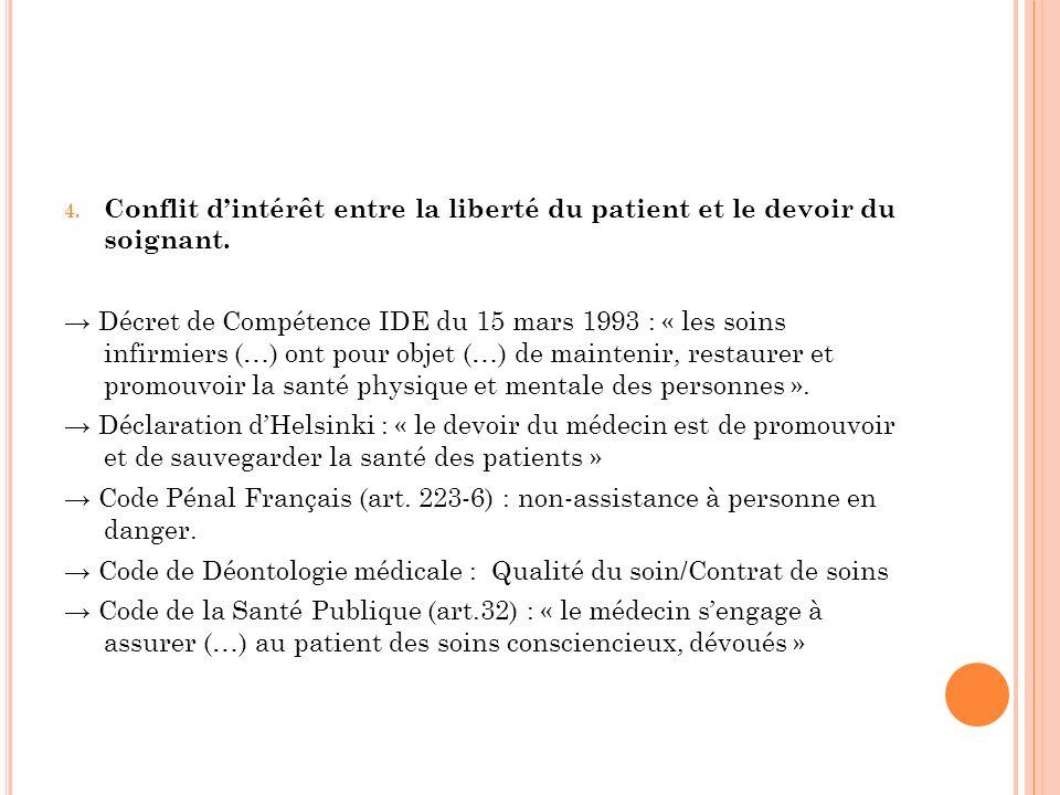 4. Conflit dintérêt entre la liberté du patient et le devoir du soignant. Décret de Compétence IDE du 15 mars 1993 : « les soins infirmiers (…) ont po